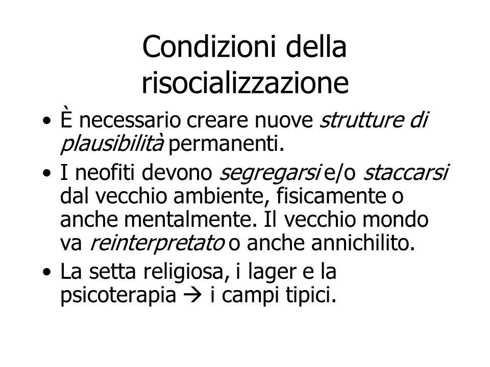 Condizioni della risocializzazione È necessario creare nuove strutture di plausibilità permanenti. I neofiti devono segregarsi e/o staccarsi dal vecch