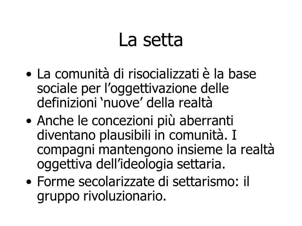 La setta La comunità di risocializzati è la base sociale per l'oggettivazione delle definizioni 'nuove' della realtà Anche le concezioni più aberranti