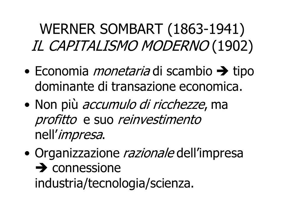 WERNER SOMBART (1863-1941) IL CAPITALISMO MODERNO (1902) Economia monetaria di scambio  tipo dominante di transazione economica. Non più accumulo di