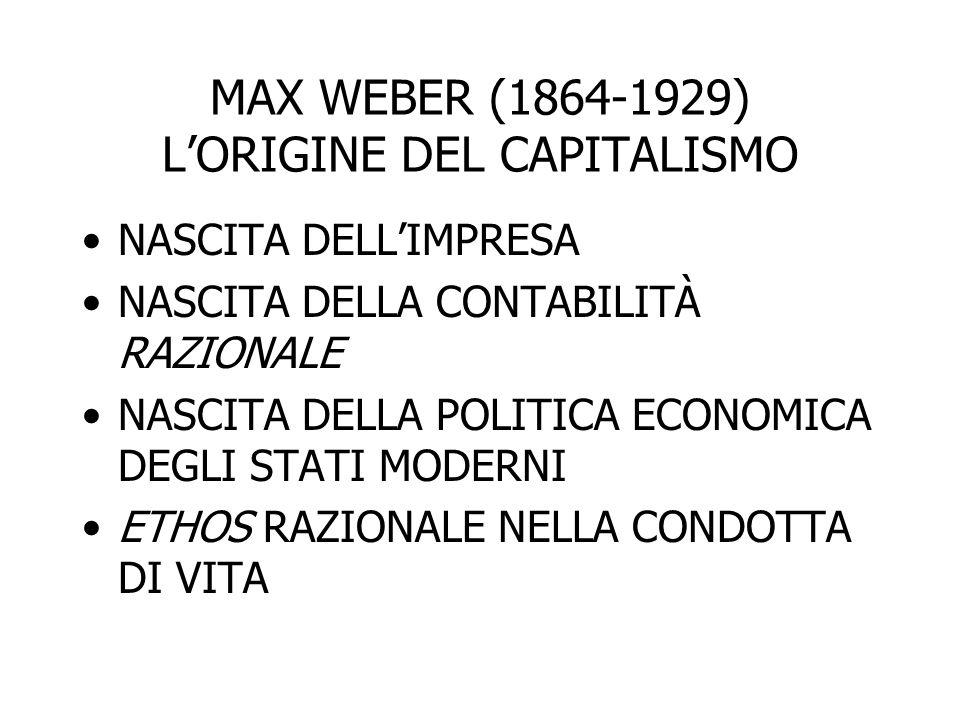 MAX WEBER (1864-1929) L'ORIGINE DEL CAPITALISMO NASCITA DELL'IMPRESA NASCITA DELLA CONTABILITÀ RAZIONALE NASCITA DELLA POLITICA ECONOMICA DEGLI STATI