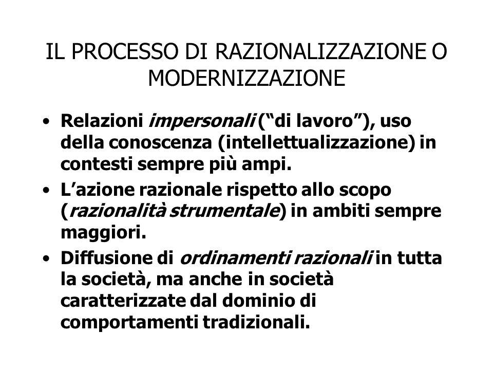 """IL PROCESSO DI RAZIONALIZZAZIONE O MODERNIZZAZIONE Relazioni impersonali (""""di lavoro""""), uso della conoscenza (intellettualizzazione) in contesti sempr"""