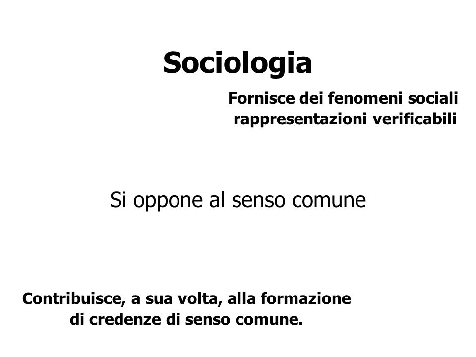 Sociologia Si oppone al senso comune Fornisce dei fenomeni sociali rappresentazioni verificabili Contribuisce, a sua volta, alla formazione di credenz