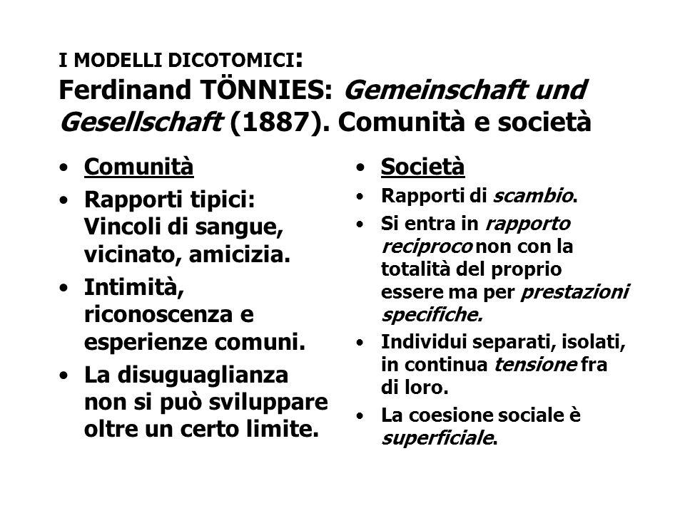 I MODELLI DICOTOMICI : Ferdinand TÖNNIES: Gemeinschaft und Gesellschaft (1887). Comunità e società Comunità Rapporti tipici: Vincoli di sangue, vicina
