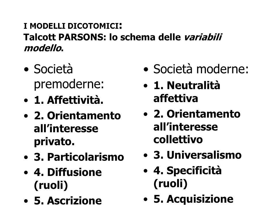 I MODELLI DICOTOMICI : Talcott PARSONS: lo schema delle variabili modello. Società premoderne: 1. Affettività. 2. Orientamento all'interesse privato.