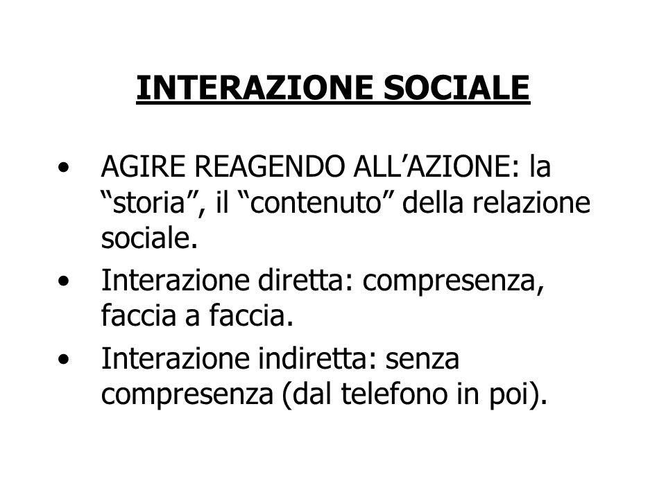 """INTERAZIONE SOCIALE AGIRE REAGENDO ALL'AZIONE: la """"storia"""", il """"contenuto"""" della relazione sociale. Interazione diretta: compresenza, faccia a faccia."""
