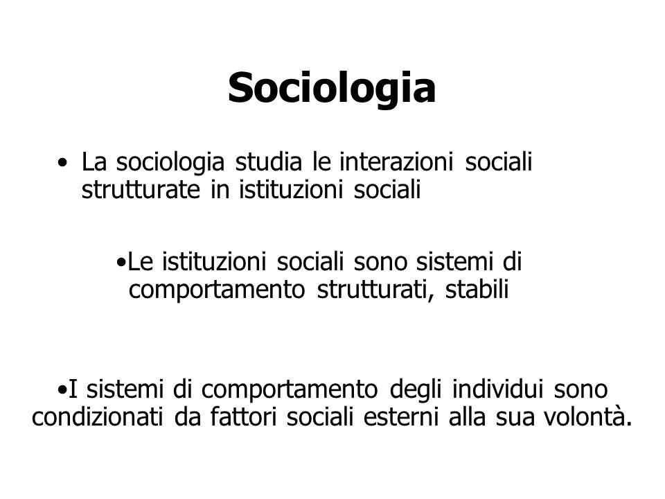 Sociologia La sociologia studia le interazioni sociali strutturate in istituzioni sociali I sistemi di comportamento degli individui sono condizionati