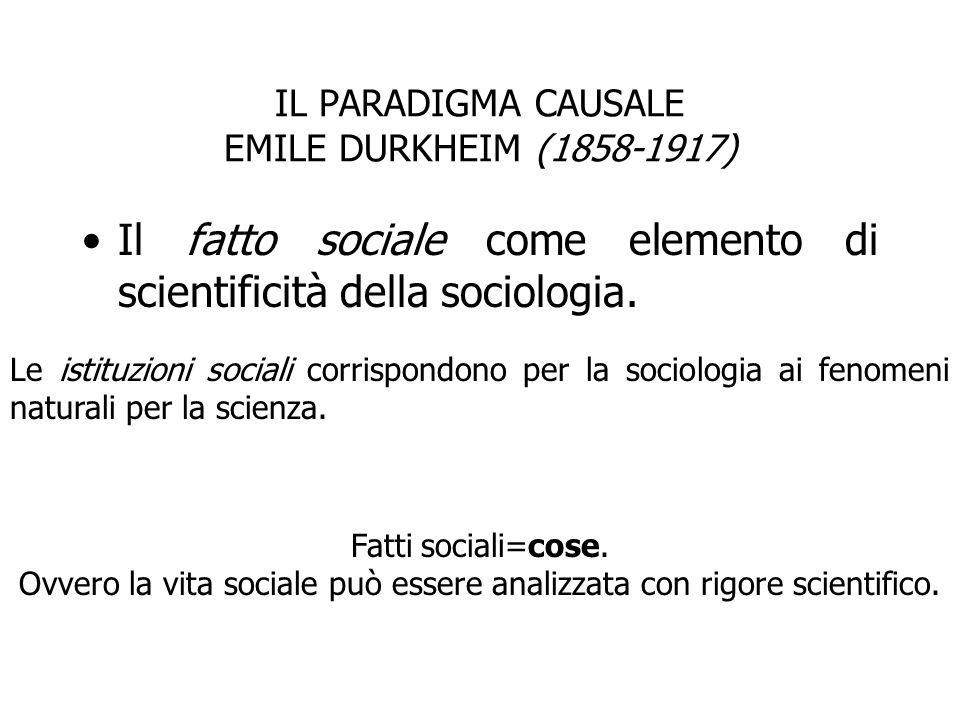 IL PARADIGMA CAUSALE EMILE DURKHEIM (1858-1917) Il fatto sociale come elemento di scientificità della sociologia. Le istituzioni sociali corrispondono