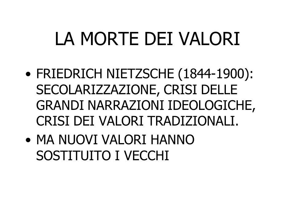 LA MORTE DEI VALORI FRIEDRICH NIETZSCHE (1844-1900): SECOLARIZZAZIONE, CRISI DELLE GRANDI NARRAZIONI IDEOLOGICHE, CRISI DEI VALORI TRADIZIONALI. MA NU
