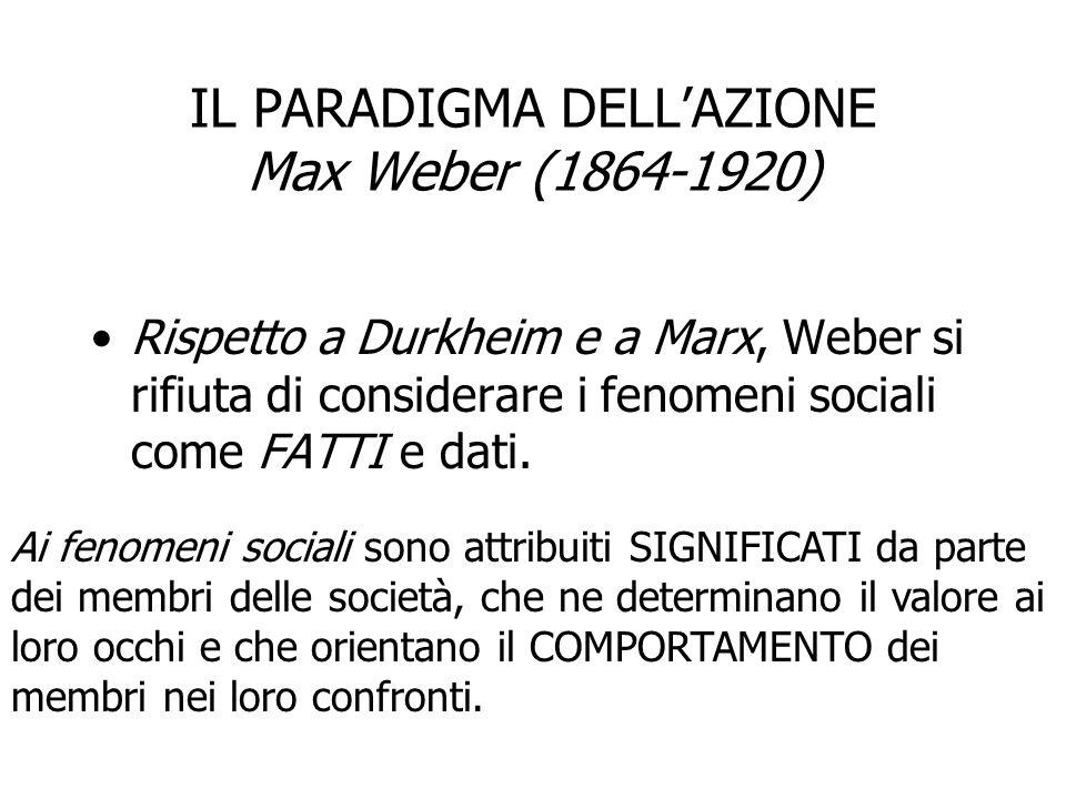 IL PARADIGMA DELL'AZIONE Max Weber (1864-1920) Rispetto a Durkheim e a Marx, Weber si rifiuta di considerare i fenomeni sociali come FATTI e dati. Ai