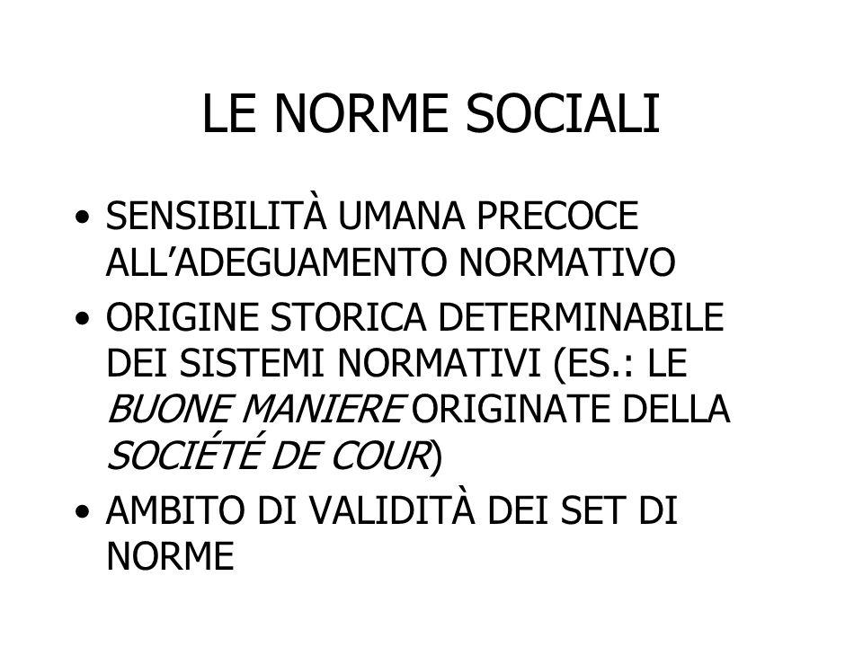 LE NORME SOCIALI SENSIBILITÀ UMANA PRECOCE ALL'ADEGUAMENTO NORMATIVO ORIGINE STORICA DETERMINABILE DEI SISTEMI NORMATIVI (ES.: LE BUONE MANIERE ORIGIN