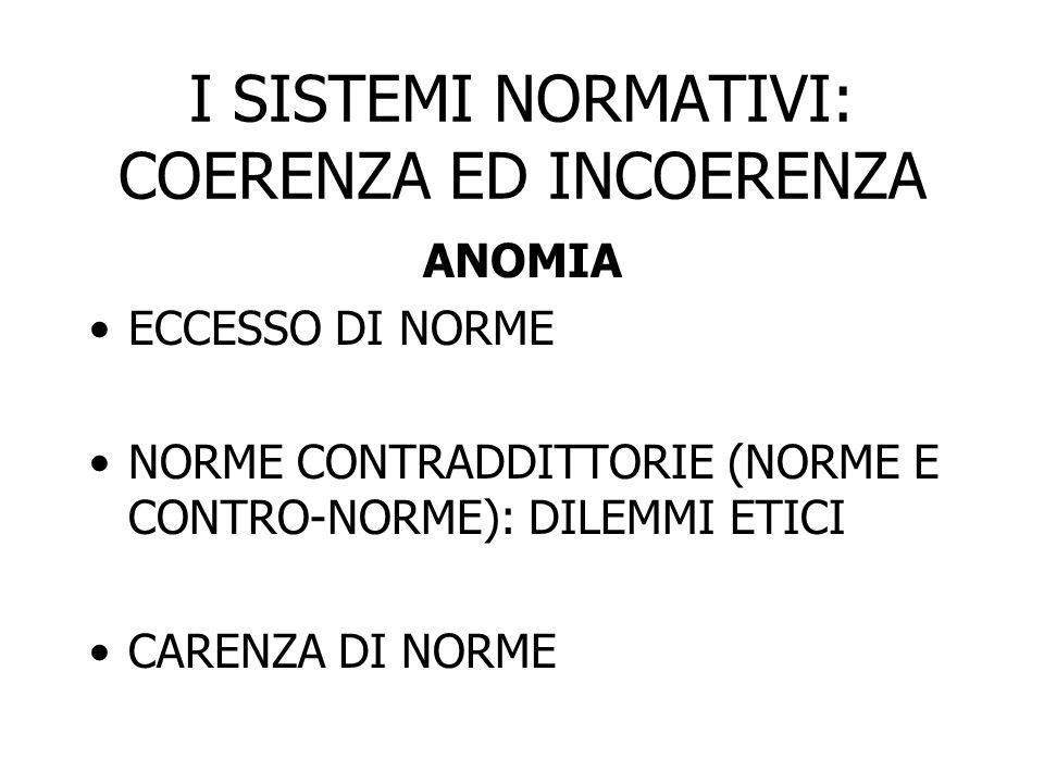 I SISTEMI NORMATIVI: COERENZA ED INCOERENZA ANOMIA ECCESSO DI NORME NORME CONTRADDITTORIE (NORME E CONTRO-NORME): DILEMMI ETICI CARENZA DI NORME