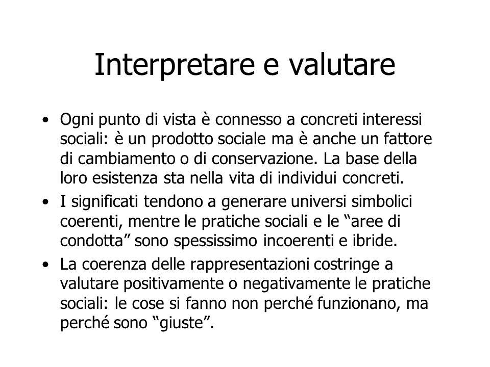 Interpretare e valutare Ogni punto di vista è connesso a concreti interessi sociali: è un prodotto sociale ma è anche un fattore di cambiamento o di c