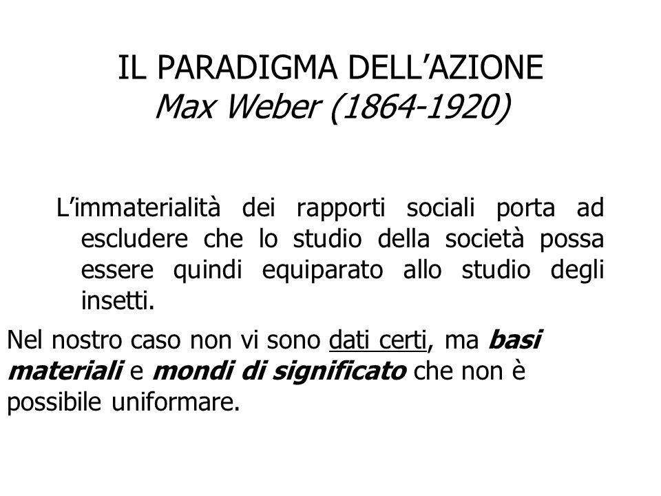 IL PARADIGMA DELL'AZIONE Max Weber (1864-1920) L'immaterialità dei rapporti sociali porta ad escludere che lo studio della società possa essere quindi