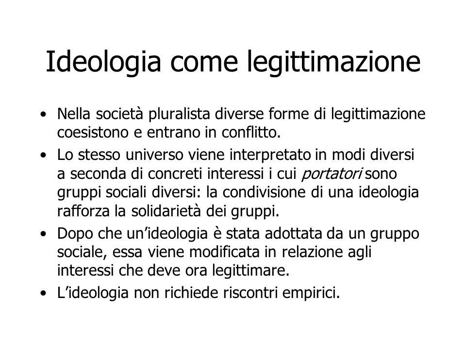 Ideologia come legittimazione Nella società pluralista diverse forme di legittimazione coesistono e entrano in conflitto. Lo stesso universo viene int