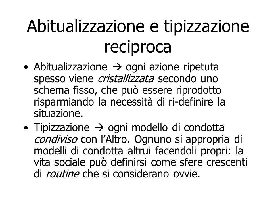 Abitualizzazione e tipizzazione reciproca Abitualizzazione  ogni azione ripetuta spesso viene cristallizzata secondo uno schema fisso, che può essere