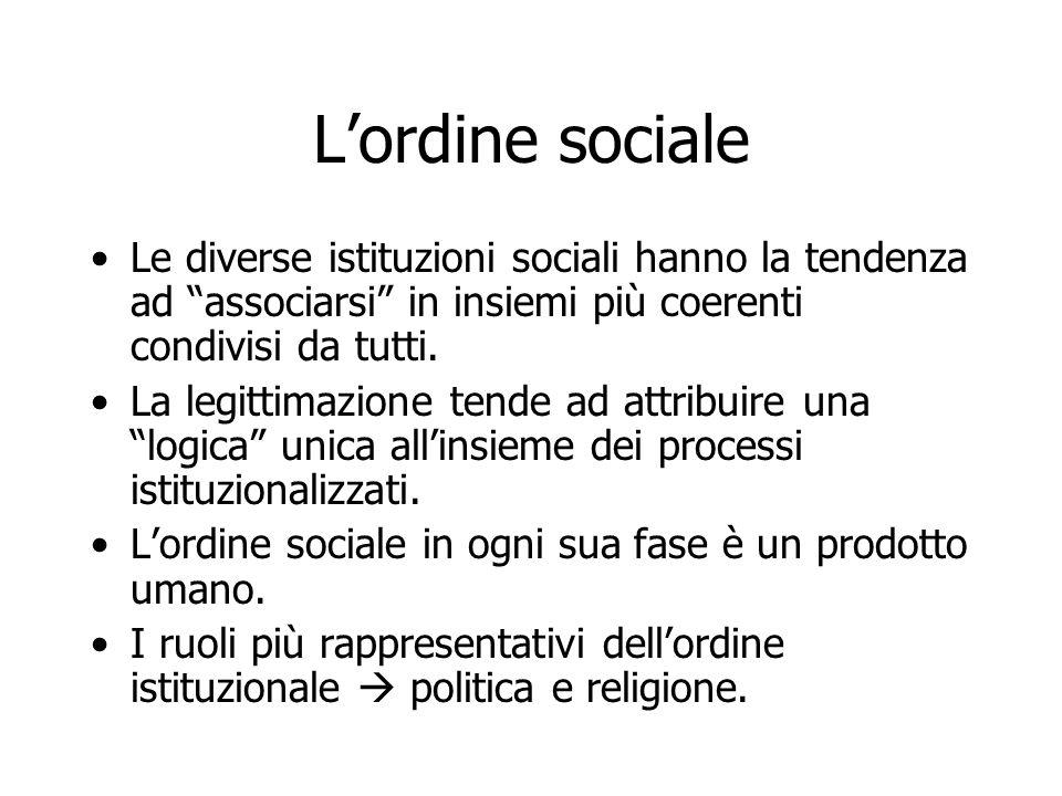 """L'ordine sociale Le diverse istituzioni sociali hanno la tendenza ad """"associarsi"""" in insiemi più coerenti condivisi da tutti. La legittimazione tende"""