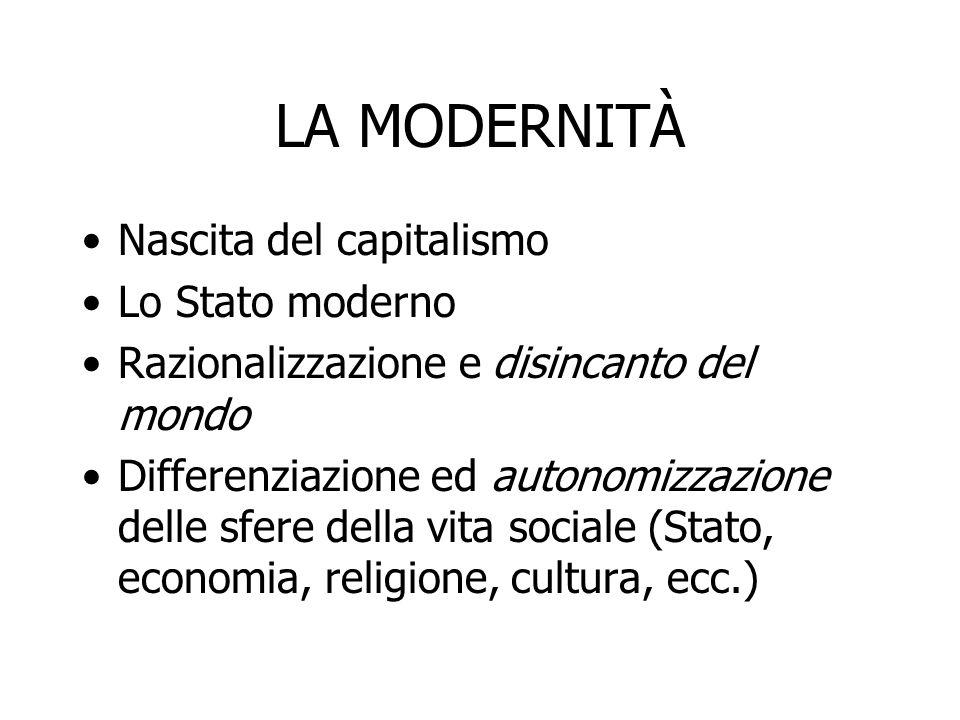 LA MODERNITÀ Nascita del capitalismo Lo Stato moderno Razionalizzazione e disincanto del mondo Differenziazione ed autonomizzazione delle sfere della