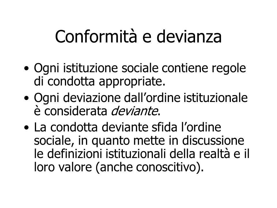 Conformità e devianza Ogni istituzione sociale contiene regole di condotta appropriate. Ogni deviazione dall'ordine istituzionale è considerata devian