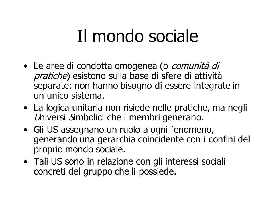 Il mondo sociale Le aree di condotta omogenea (o comunità di pratiche) esistono sulla base di sfere di attività separate: non hanno bisogno di essere