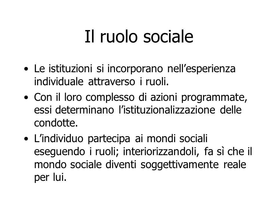 Il ruolo sociale Le istituzioni si incorporano nell'esperienza individuale attraverso i ruoli. Con il loro complesso di azioni programmate, essi deter