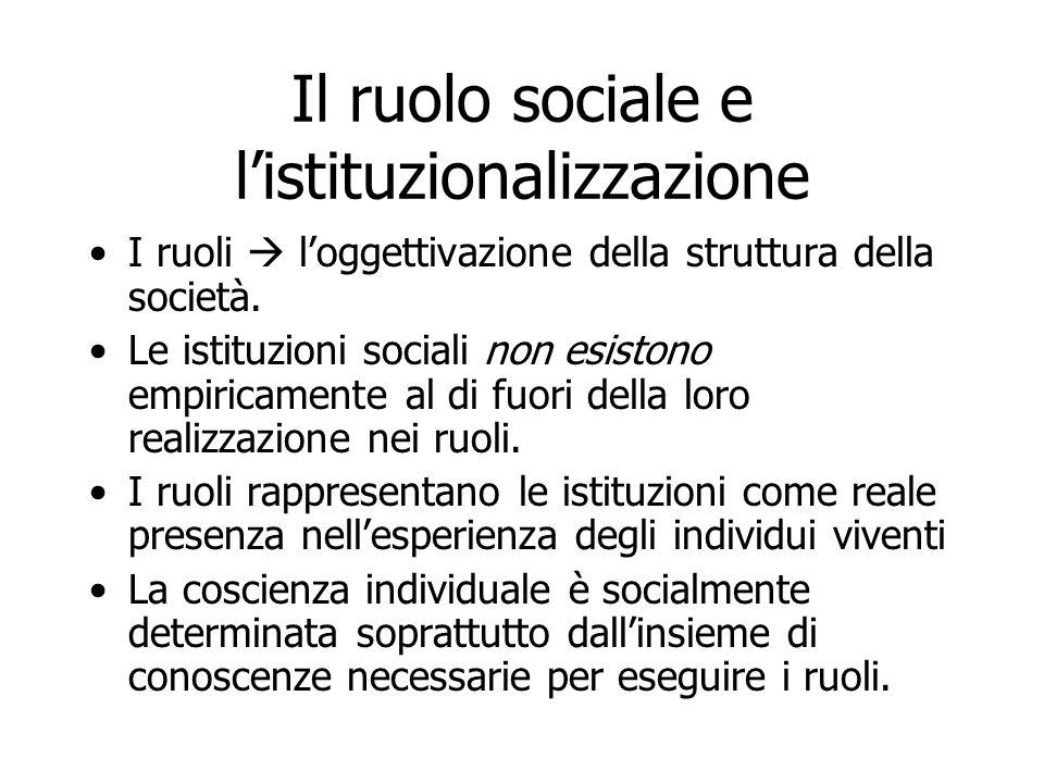 Il ruolo sociale e l'istituzionalizzazione I ruoli  l'oggettivazione della struttura della società. Le istituzioni sociali non esistono empiricamente