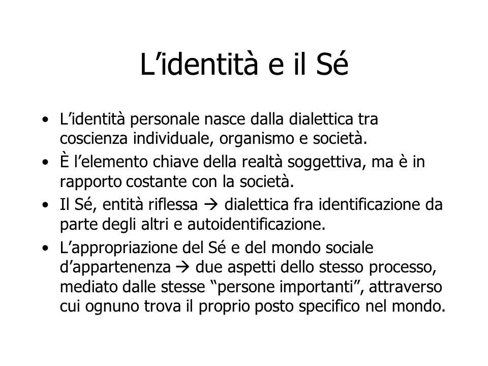 L'identità e il Sé L'identità personale nasce dalla dialettica tra coscienza individuale, organismo e società. È l'elemento chiave della realtà sogget