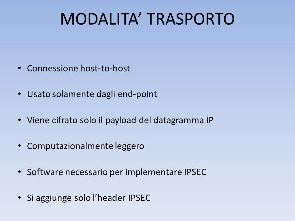 MODALITA' TRASPORTO Connessione host-to-host Usato solamente dagli end-point Viene cifrato solo il payload del datagramma IP Computazionalmente leggero Software necessario per implementare IPSEC Si aggiunge solo l'header IPSEC