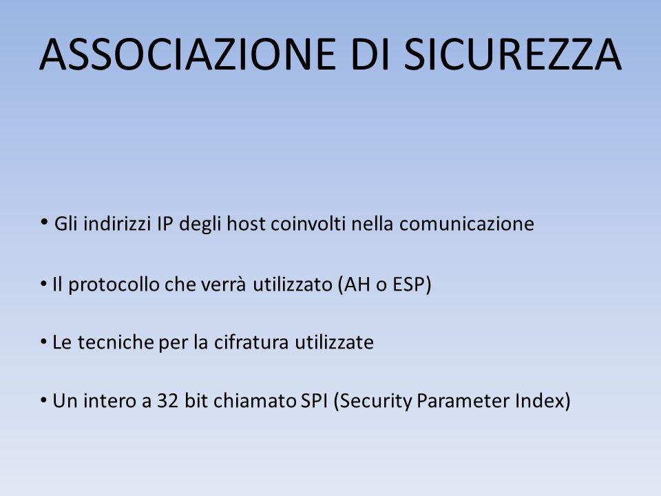 ASSOCIAZIONE DI SICUREZZA Gli indirizzi IP degli host coinvolti nella comunicazione Il protocollo che verrà utilizzato (AH o ESP) Le tecniche per la cifratura utilizzate Un intero a 32 bit chiamato SPI (Security Parameter Index)
