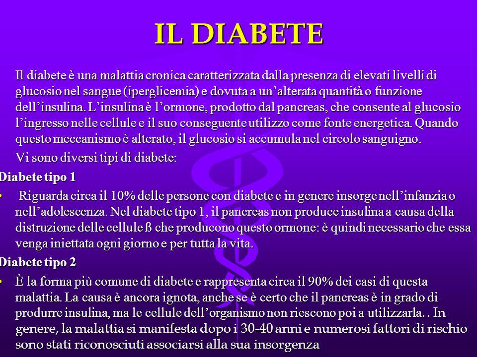 IL DIABETE Il diabete è una malattia cronica caratterizzata dalla presenza di elevati livelli di glucosio nel sangue (iperglicemia) e dovuta a un'alte