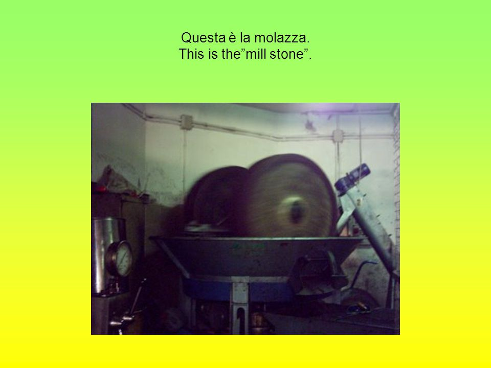 Questa è la molazza. This is the mill stone .