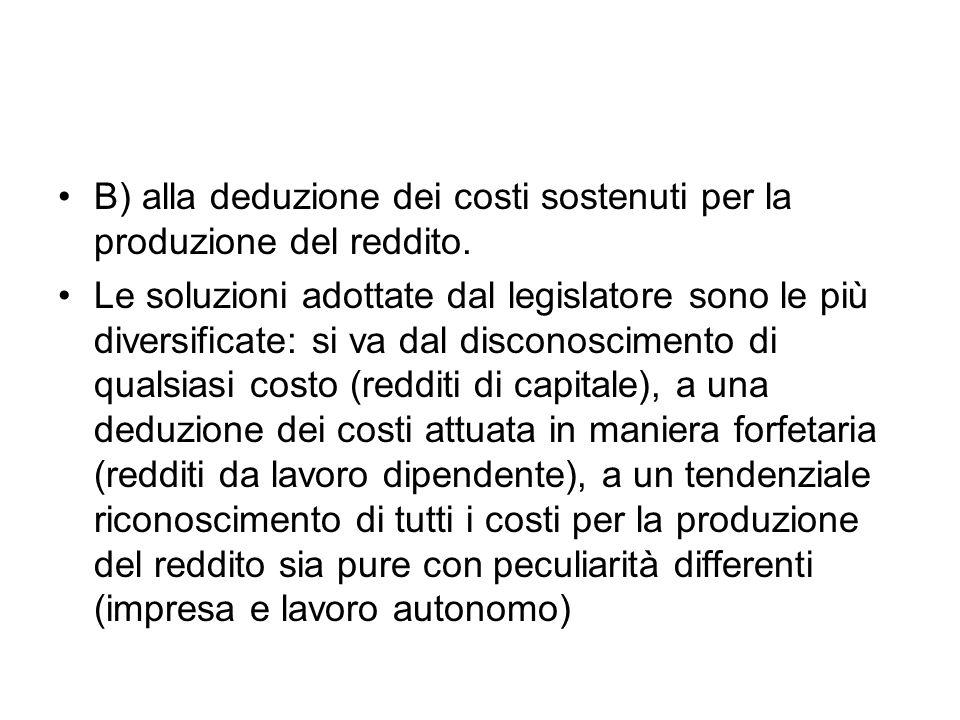 B) alla deduzione dei costi sostenuti per la produzione del reddito.