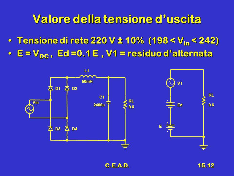 C.E.A.D.15.12 Valore della tensione d'uscita Tensione di rete 220 V ± 10% (198 < V in < 242)Tensione di rete 220 V ± 10% (198 < V in < 242) E = V DC, Ed =0.1 E, V1 = residuo d'alternataE = V DC, Ed =0.1 E, V1 = residuo d'alternata