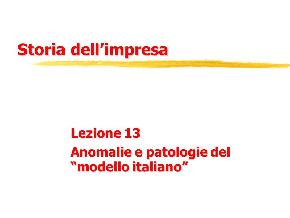 Storia dell'impresa Lezione 13 Anomalie e patologie del modello italiano