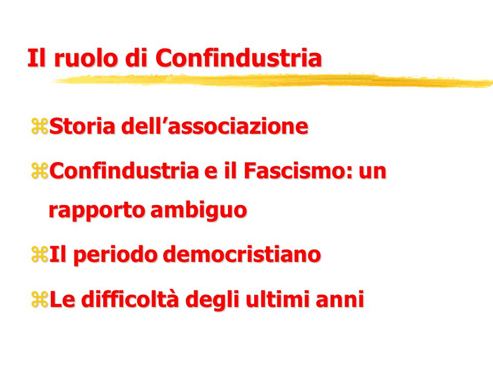 Il ruolo di Confindustria zStoria dell'associazione zConfindustria e il Fascismo: un rapporto ambiguo zIl periodo democristiano zLe difficoltà degli ultimi anni
