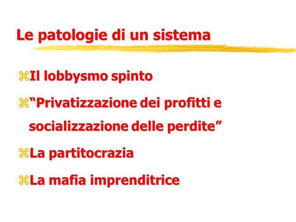 Le patologie di un sistema zIl lobbysmo spinto z Privatizzazione dei profitti e socializzazione delle perdite zLa partitocrazia zLa mafia imprenditrice