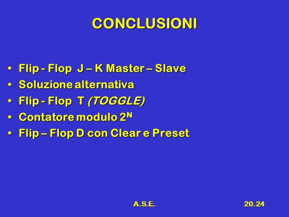 A.S.E.20.24 CONCLUSIONI Flip - Flop J – K Master – SlaveFlip - Flop J – K Master – Slave Soluzione alternativaSoluzione alternativa Flip - Flop T (TOGGLE)Flip - Flop T (TOGGLE) Contatore modulo 2 NContatore modulo 2 N Flip – Flop D con Clear e PresetFlip – Flop D con Clear e Preset
