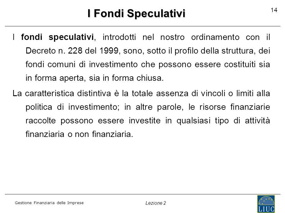 Gestione Finanziaria delle Imprese Lezione 2 14 I Fondi Speculativi I fondi speculativi, introdotti nel nostro ordinamento con il Decreto n.