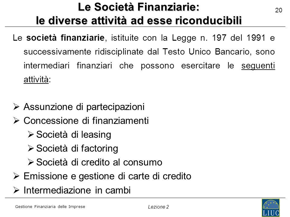 Gestione Finanziaria delle Imprese Lezione 2 20 Le Società Finanziarie: le diverse attività ad esse riconducibili Le società finanziarie, istituite con la Legge n.