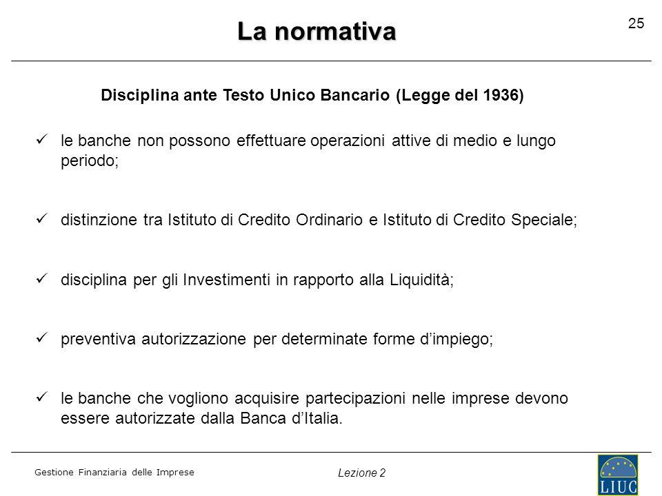 Gestione Finanziaria delle Imprese Lezione 2 25 La normativa Disciplina ante Testo Unico Bancario (Legge del 1936) le banche non possono effettuare operazioni attive di medio e lungo periodo; distinzione tra Istituto di Credito Ordinario e Istituto di Credito Speciale; disciplina per gli Investimenti in rapporto alla Liquidità; preventiva autorizzazione per determinate forme d'impiego; le banche che vogliono acquisire partecipazioni nelle imprese devono essere autorizzate dalla Banca d'Italia.