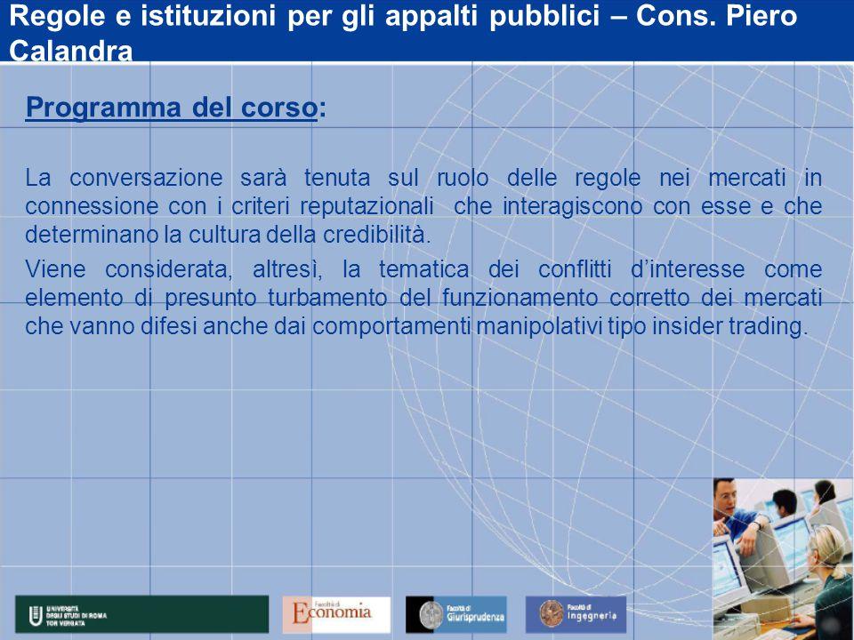 Regole e istituzioni per gli appalti pubblici – Cons.