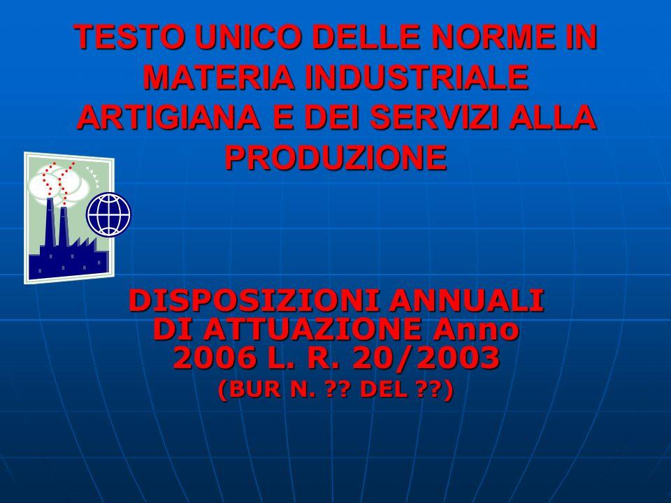 TESTO UNICO DELLE NORME IN MATERIA INDUSTRIALE ARTIGIANA E DEI SERVIZI ALLA PRODUZIONE DISPOSIZIONI ANNUALI DI ATTUAZIONE Anno 2006 L. R. 20/2003 (BUR