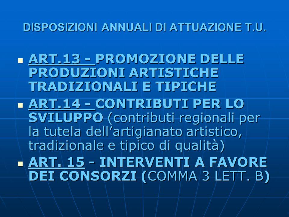 DISPOSIZIONI ANNUALI DI ATTUAZIONE T.U. ART.13 - PROMOZIONE DELLE PRODUZIONI ARTISTICHE TRADIZIONALI E TIPICHE ART.13 - PROMOZIONE DELLE PRODUZIONI AR