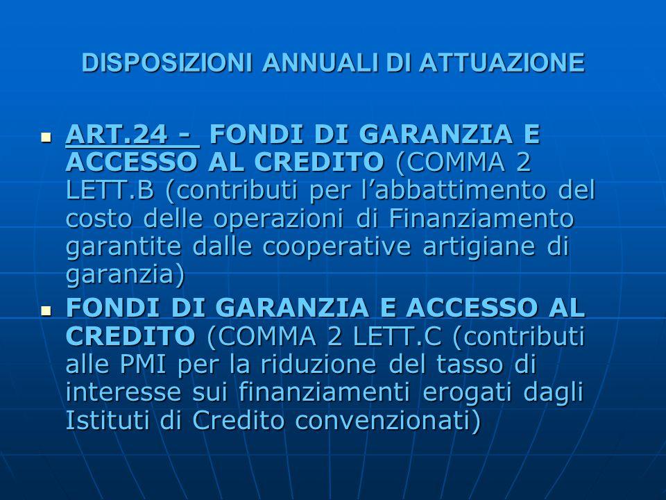 DISPOSIZIONI ANNUALI DI ATTUAZIONE ART.24 - FONDI DI GARANZIA E ACCESSO AL CREDITO (COMMA 2 LETT.B (contributi per l'abbattimento del costo delle operazioni di Finanziamento garantite dalle cooperative artigiane di garanzia) ART.24 - FONDI DI GARANZIA E ACCESSO AL CREDITO (COMMA 2 LETT.B (contributi per l'abbattimento del costo delle operazioni di Finanziamento garantite dalle cooperative artigiane di garanzia) FONDI DI GARANZIA E ACCESSO AL CREDITO (COMMA 2 LETT.C (contributi alle PMI per la riduzione del tasso di interesse sui finanziamenti erogati dagli Istituti di Credito convenzionati) FONDI DI GARANZIA E ACCESSO AL CREDITO (COMMA 2 LETT.C (contributi alle PMI per la riduzione del tasso di interesse sui finanziamenti erogati dagli Istituti di Credito convenzionati)