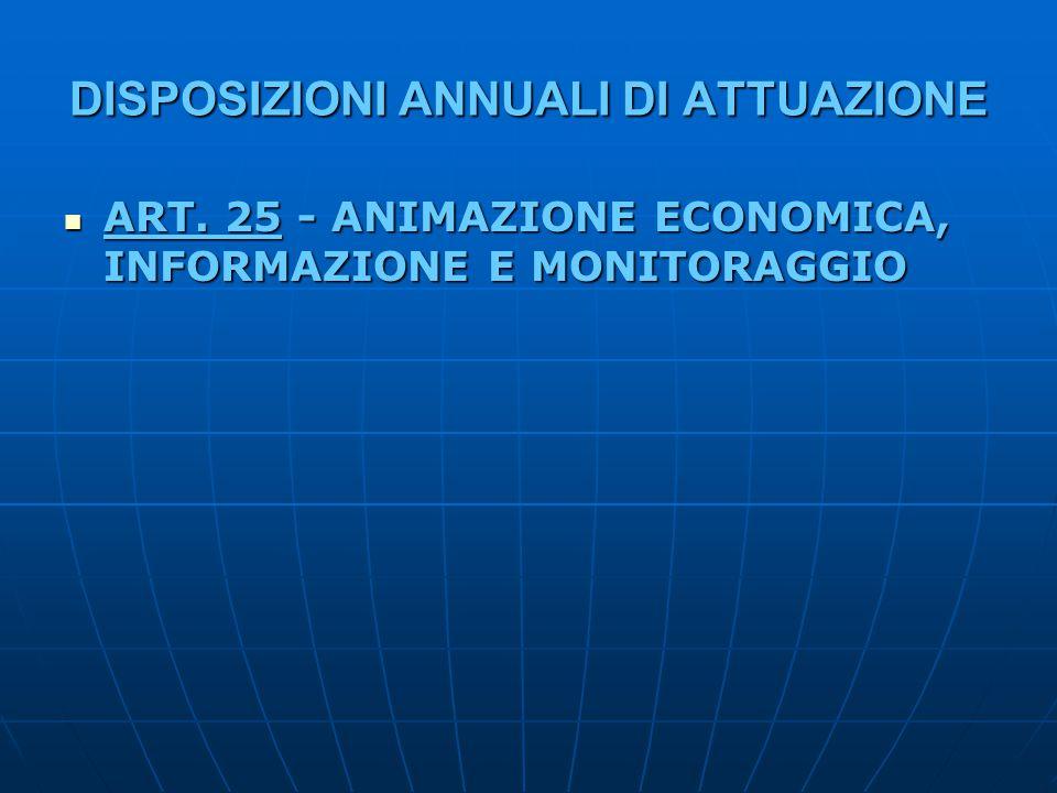 DISPOSIZIONI ANNUALI DI ATTUAZIONE ART. 25 - ANIMAZIONE ECONOMICA, INFORMAZIONE E MONITORAGGIO ART. 25 - ANIMAZIONE ECONOMICA, INFORMAZIONE E MONITORA