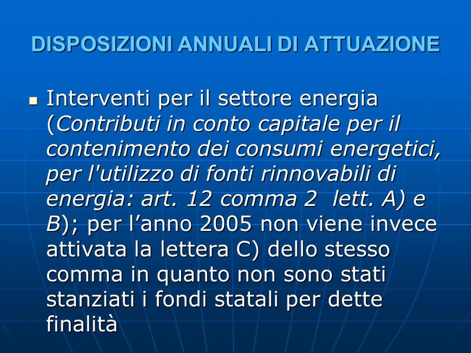 DISPOSIZIONI ANNUALI DI ATTUAZIONE Interventi per il settore energia (Contributi in conto capitale per il contenimento dei consumi energetici, per l utilizzo di fonti rinnovabili di energia: art.
