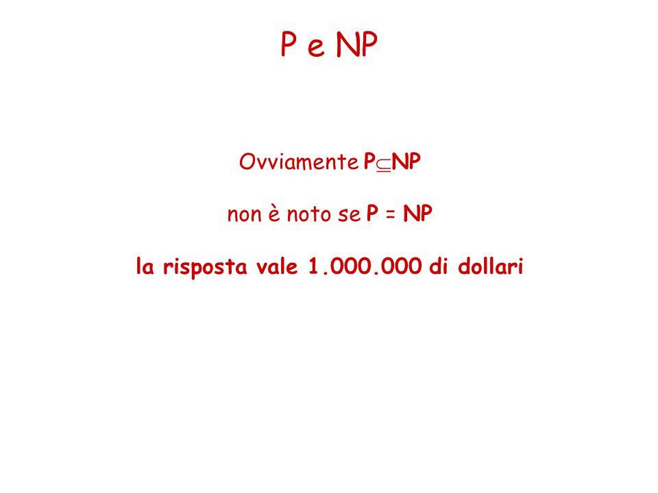 P e NP Ovviamente P  NP non è noto se P = NP la risposta vale 1.000.000 di dollari
