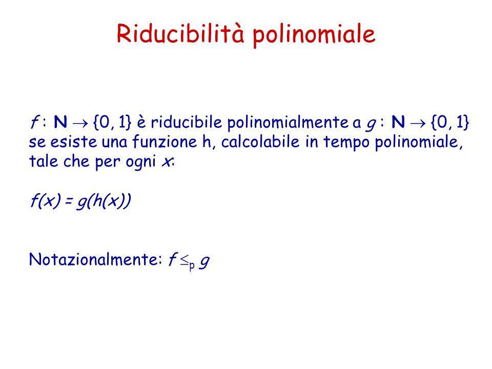 Riducibilità polinomiale f : N  {0, 1} è riducibile polinomialmente a g : N  {0, 1} se esiste una funzione h, calcolabile in tempo polinomiale, tale