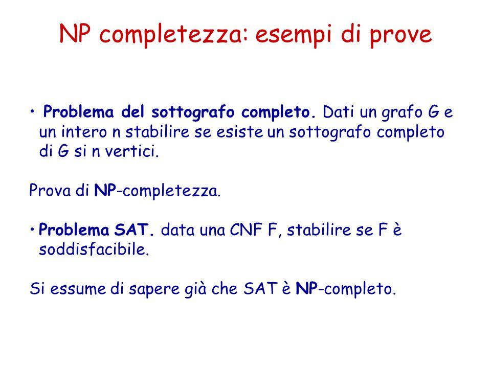NP completezza: esempi di prove Problema del sottografo completo. Dati un grafo G e un intero n stabilire se esiste un sottografo completo di G si n v