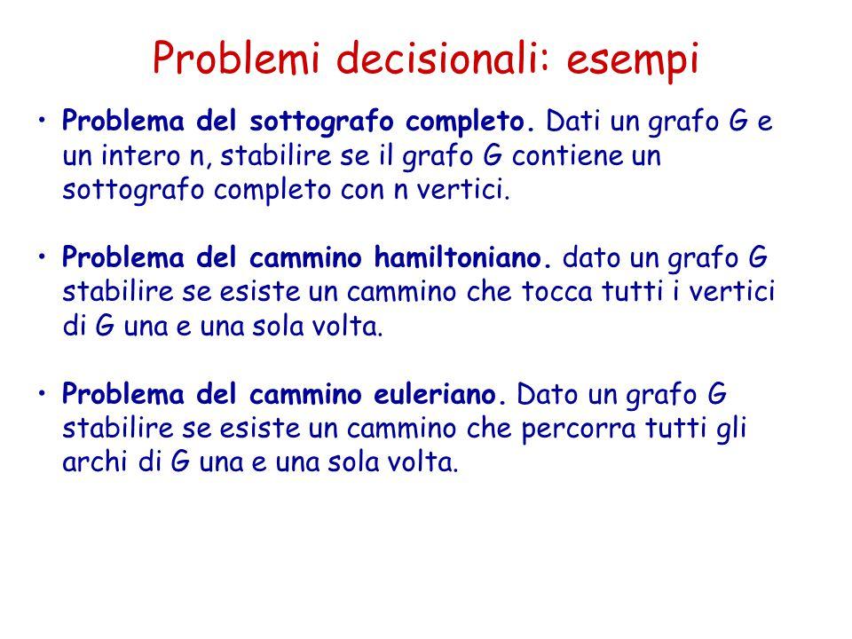 Problemi decisionali: esempi Problema del sottografo completo. Dati un grafo G e un intero n, stabilire se il grafo G contiene un sottografo completo