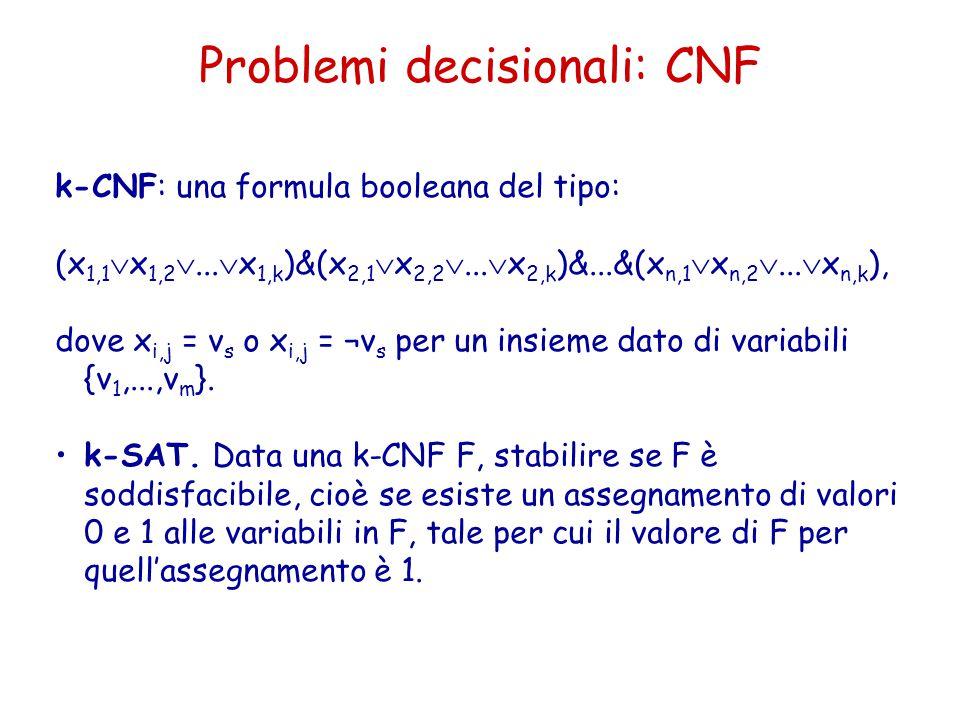 Problemi decisionali: CNF k-CNF: una formula booleana del tipo: (x 1,1  x 1,2 ...  x 1,k )&(x 2,1  x 2,2 ...  x 2,k )&...&(x n,1  x n,2 ... 
